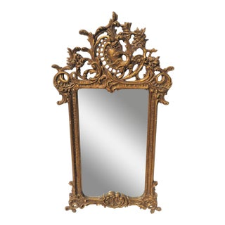 French Rococo Gold Gilt Swan Carved Mirror