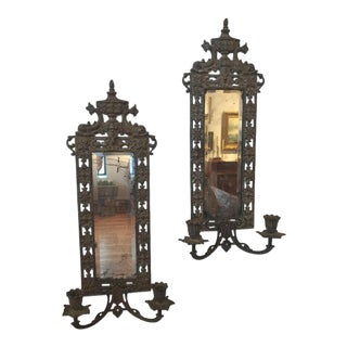 19th Century Victorian Cast Iron Sconces - a Pair