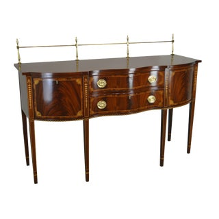 1990s Councill Craftsmen Flame Mahogany Inlaid Federal Sideboard For Sale
