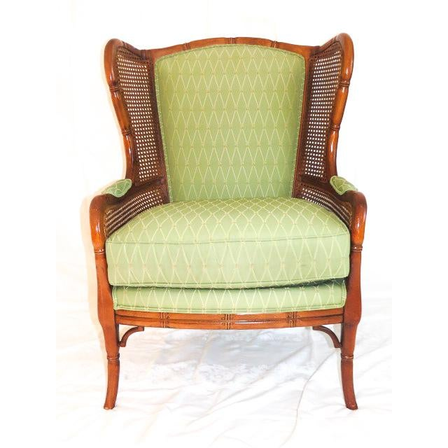 Textile English Traditional Green Upholstered Faux Bamboo Wingback Chair For Sale - Image 7 of 9