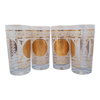 Vintage Golden Medallian Collins Highball Collins Glasses With Aztec Calender Motif - Set of 4 For Sale