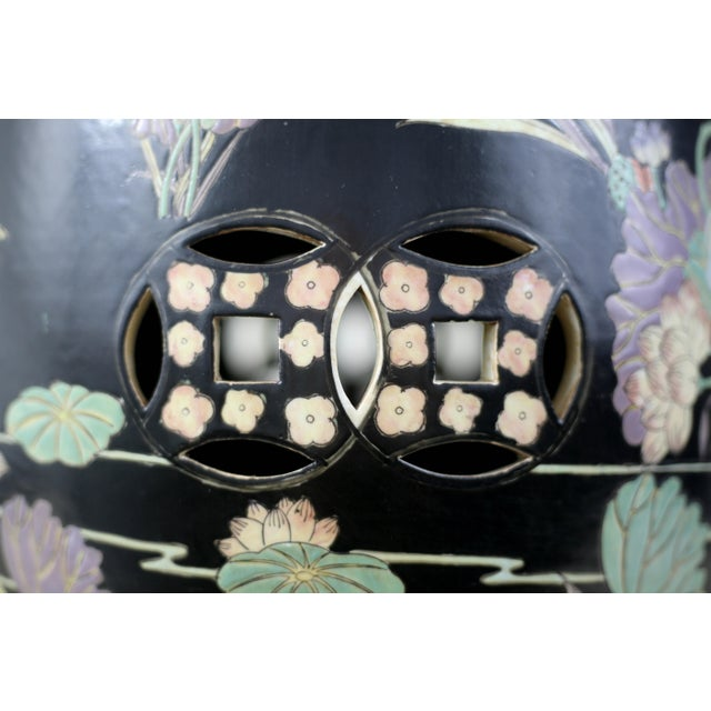 1980s Vintage Black Garden Stool With Cranes and Lotuses For Sale - Image 5 of 12
