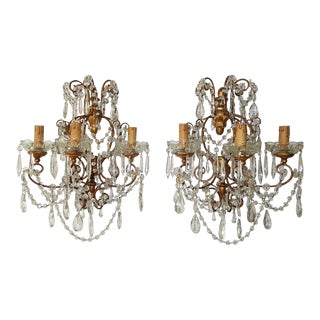 1900 French Baroque Gold Gilt Three-Light Crystal Sconces For Sale