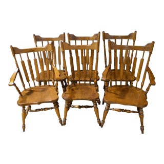 Vintage Temple Stuart Rockingham Country Maple Dining Chairs - Set of 6
