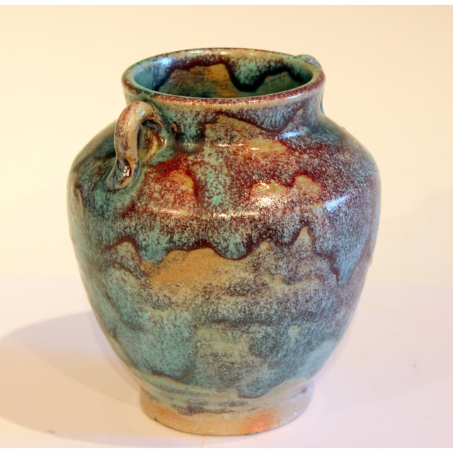 Vintage 1940s Pottery Arts & Crafts Jugtown Flambe North Carolina Chinese Jun Vase For Sale - Image 4 of 12