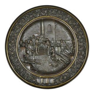 1884 Antique Bronze Dish Plaque King Umberto Visiting Cholera Hospital Naples For Sale
