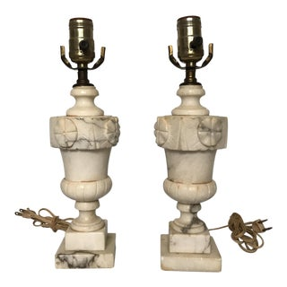Carved Alabaster Table Lamps - A Pair