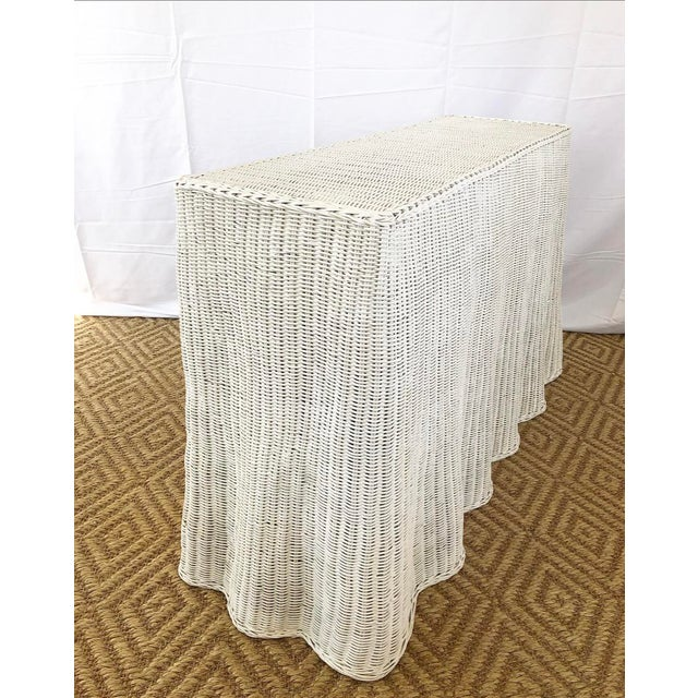 Hollywood Regency Vintage White Wicker Ghost Trompe L' Oeil Console For Sale - Image 3 of 13
