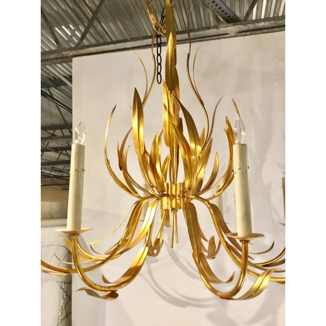 Currey & Company Currey & Co. Italian Toile Style Transitional Longleaf Gold Chandelier For Sale - Image 4 of 6
