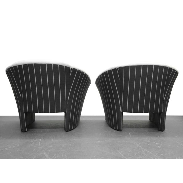 Pair of Oversized Barrel Back Italian Lounge Chairs with Splayed Arms For Sale - Image 5 of 7