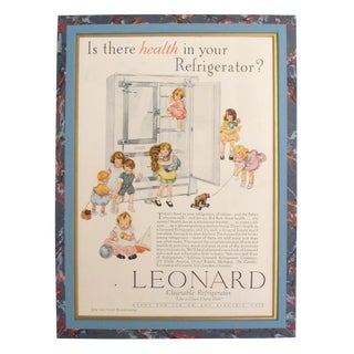 "1920's Vintage American Advertisement - Good Housekeeping Magazine - Leonard Cleanable Refrigerator ""Like a Clean China Dish"" For Sale"