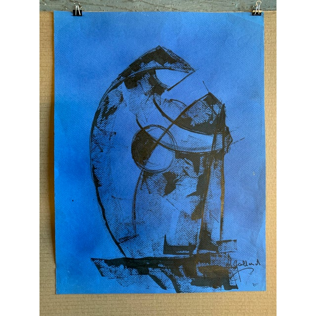 """Abstract Expressionism 1980s """"Figure on Blue"""" Painting Leon Collard For Sale - Image 3 of 5"""