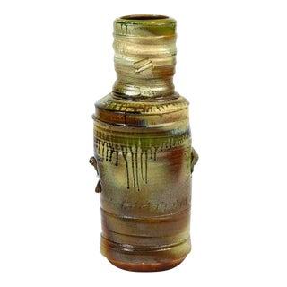 "Large 27"" Tall Wood Ash Glazed Bottle Shaped Ceramic Vase by Craig Easter For Sale"