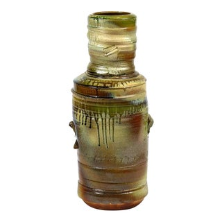 Large Craig Easter Wood Ash Glazed Bottle Shaped Studio Pottery Vase For Sale