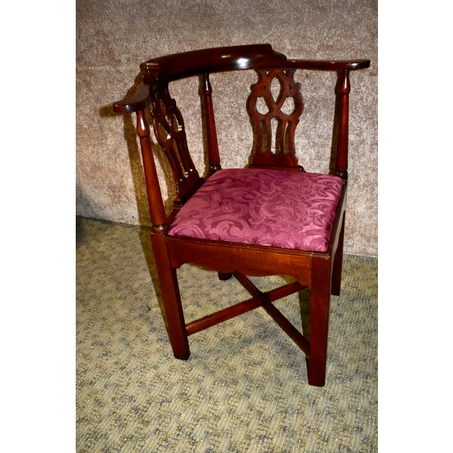 Wood Vintage Chippendale Hickory Chair Solid Mahogany Style Corner Chair For Sale - Image 7 of 13