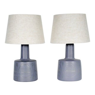 1960s Gordon & Jane Martz Mid-Century Blue Incised Ceramic Table Lamps - a Pair For Sale