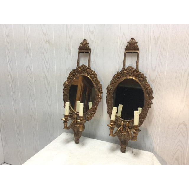 French Brass & Mirrored Sconces - A Pair - Image 2 of 4