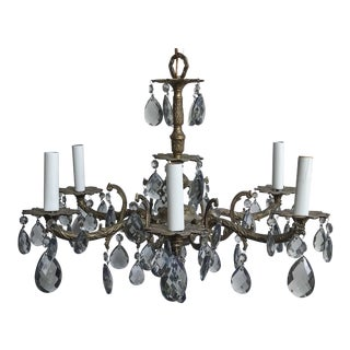 1940s Ornate Spanish Brass and Crystal Teardrop Chandelier For Sale