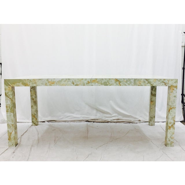 Vintage Mid-Century Modern Faux Marble Parsons Table For Sale - Image 7 of 9