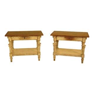 Ralph Lauren Leather Top Distressed Painted End Tables - A Pair
