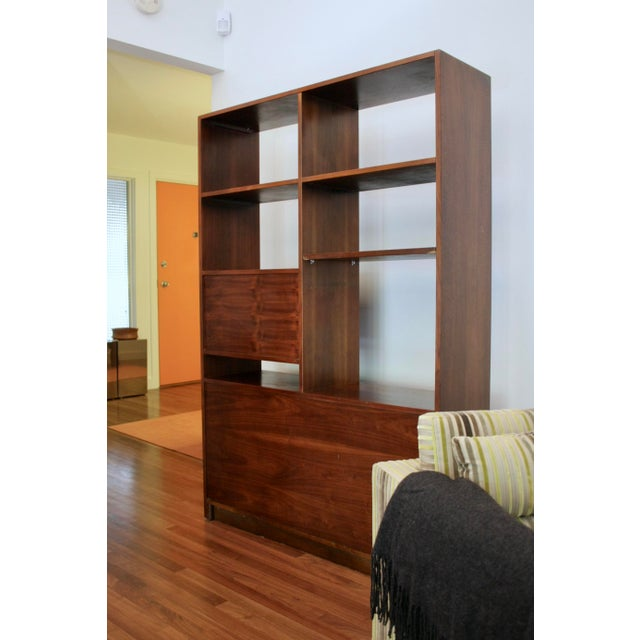 Danish Modern Room Divider Bookcase in Walnut For Sale - Image 4 of 13