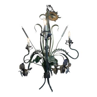 Antique French Verdigris Tole Chandelier With Cattails For Sale