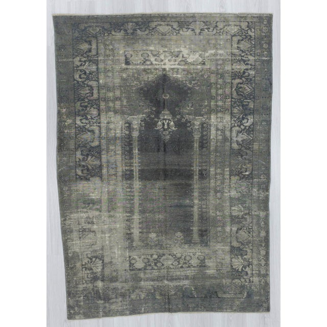 Vintage gray overdyed rug from Kayseri region of Turkey.In good condition.Approximatelly 50-60 years old.