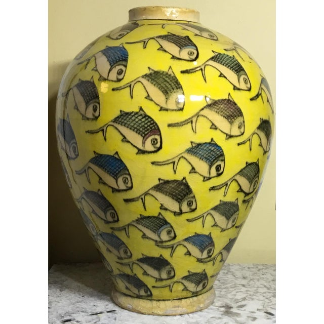 1960s Contemporary Persian Yellow Ceramic Fish Vase For Sale - Image 9 of 10