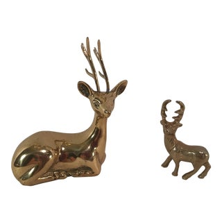 Vintage Brass Deer Figurines - Set of Two For Sale