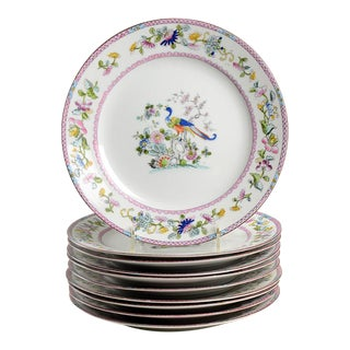 Noritake Pink with Bird of Paradise Dinner Plates - Set of 10 For Sale