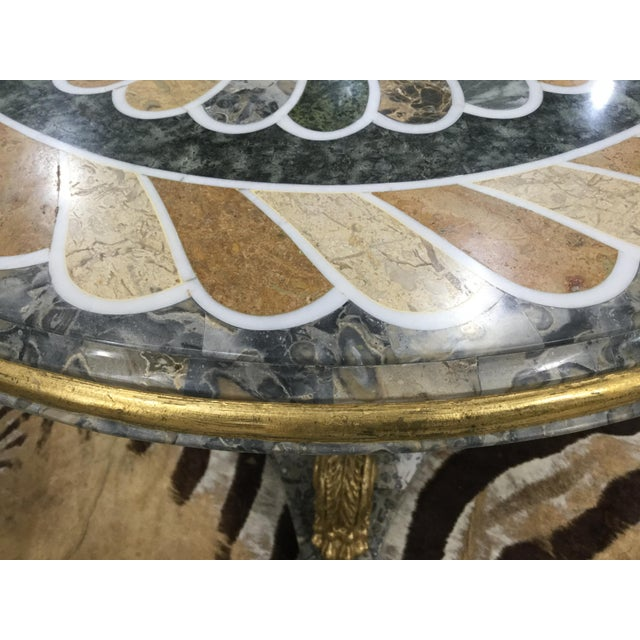 1980s Vintage Pietra Dura Dolphin Base Marble Table For Sale - Image 10 of 11