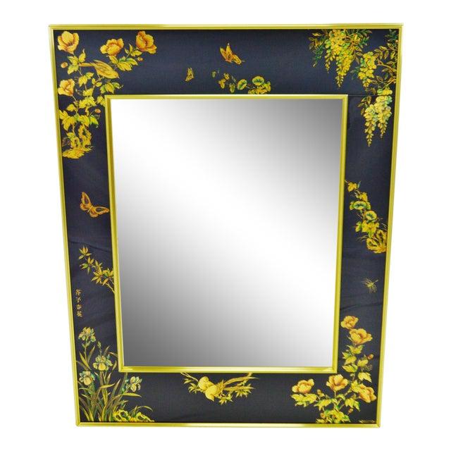Vintage La Barge Reverse Painted Glass Frame With Beveled Mirror - Artist Signed For Sale