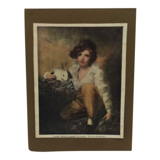 """1930s Vintage Raeburn """"A Boy With a Rabbit"""" Mounted Print For Sale"""