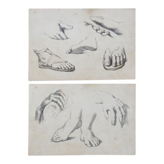 1890s Lithograph Drawing Lessons Hands & Feet - a Pair For Sale