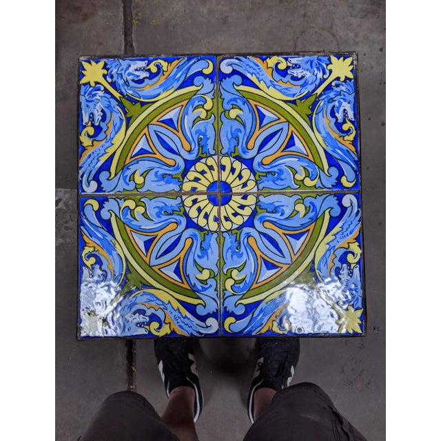 20th Century Spanish Tile and Iron Side Occasional Table For Sale - Image 10 of 12