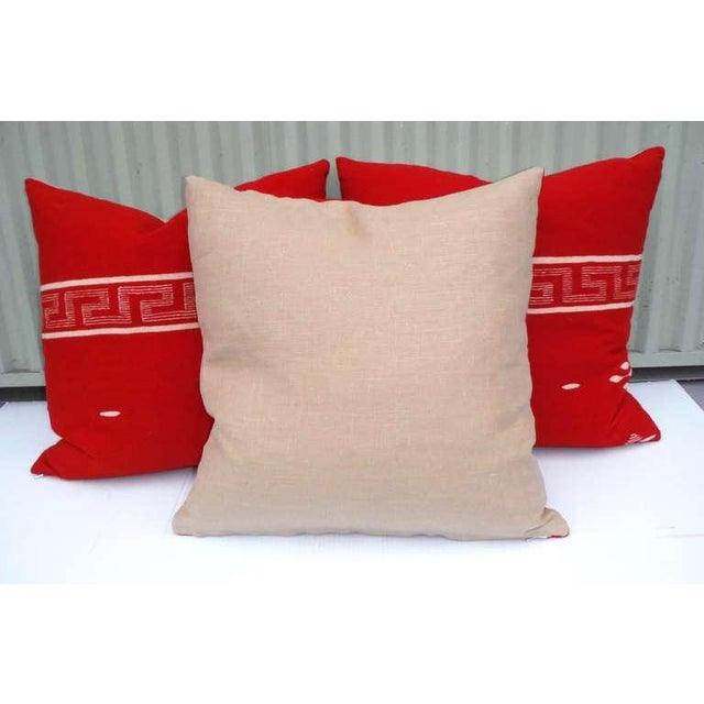 Collection of Three Brilliant Texcoco Woven Pillows For Sale - Image 4 of 5