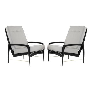 1950s Scandinavian Modern Brass Rodded Lounge Chairs - a Pair For Sale