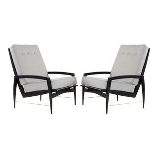 1950s Scandinavian Modern Brass Rodded Lounge Chairs - a Pair For Sale