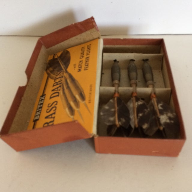 1940's Britex English Brass Darts W/feather Flights For Sale - Image 4 of 11