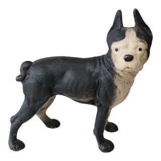 Vintage Cast Iron Boston Terrier Dog Doorstop For Sale