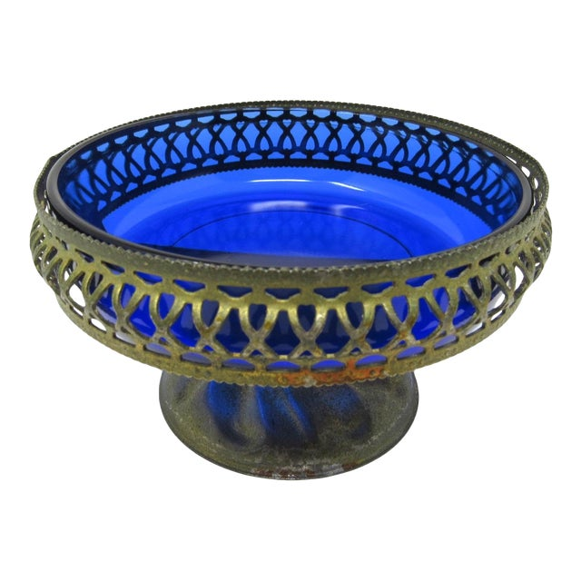 Vintage Cobalt Glass Bowl in Pierced Metal Stand For Sale