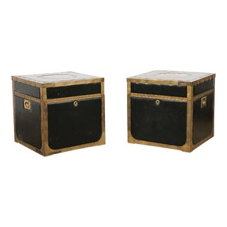 Attractive Pair of Leather and Brass Trunk Tables