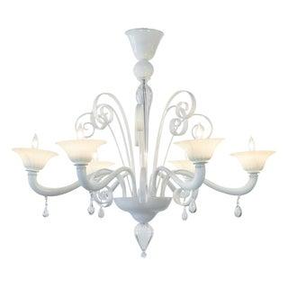 Opaline Murano Glass Chandelier For Sale