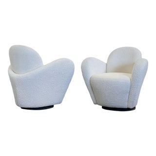 Vladimir Kagan Swivel Lounge Chairs for Directional, a Pair For Sale