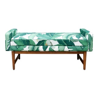 Palm Beach Regency Style Banana Leaf Print Bench For Sale