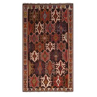 Vintage Mid-Century Kuba Multicolor Tribal Wool Kilim Rug For Sale