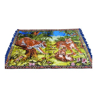Tiger Family Themed Tapestry Vintage Wall Decor Rug - 46ʺ X 70ʺ For Sale