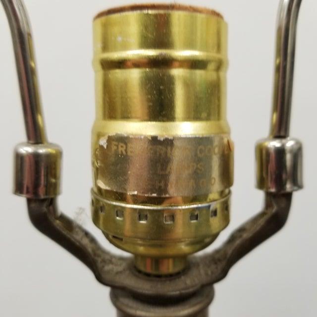 1960s Frederick Cooper Palm Beach Regency Faux Basket Weave Ginger Jar Lamp For Sale - Image 5 of 6