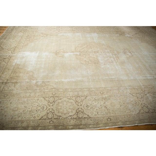 "White Vintage Distressed Tabriz Carpet - 9' X 12'9"" For Sale - Image 8 of 13"