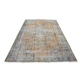 Antique Oushak Faded Overdyed Rug - 6' x 9' For Sale